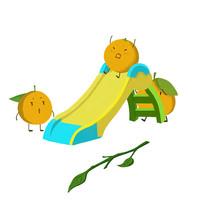 卡通可爱手绘赣南脐橙滑滑梯元素