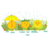 卡通可爱手绘赣南脐橙雨中散步元素