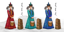 原创蒙古女人插画设计