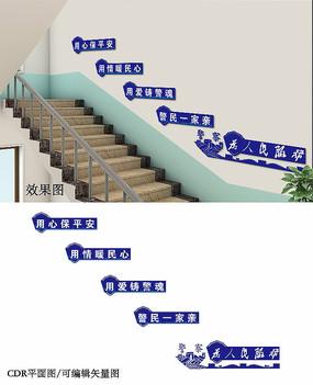 公安楼梯文化墙设计