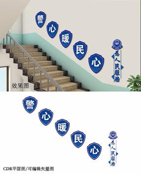 蓝色警察楼梯文化墙