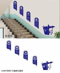 蓝色公安楼梯文化墙