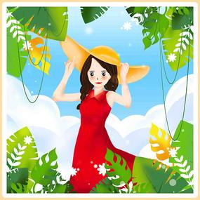 漂亮女孩夏季元素
