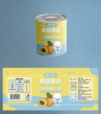 清新卡通黄桃罐头包装