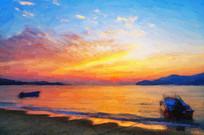 油画绘画日出