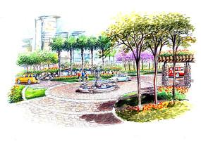 广场喷泉区透视手绘