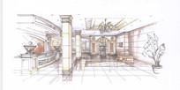 酒店大堂室内手绘设计