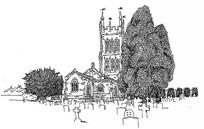 欧式建筑树木手绘