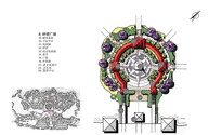 钟塔广场彩平手绘