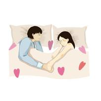 手绘创意浪漫情侣睡觉七夕520情人节元素