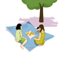 手绘创意漂亮女生在公园春游旅游元素