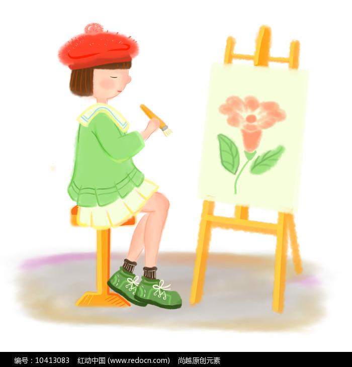 手绘卡通可爱女孩画家美术培训班元素图片