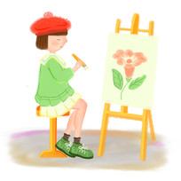 手绘卡通可爱女孩画家美术培训班元素