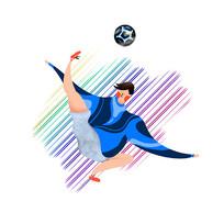 踢足球健身的运动青年