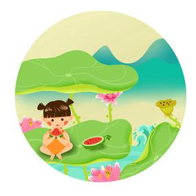 小暑时节荷塘里吃西瓜的小女孩