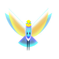 光感展翅飞翔的鸟