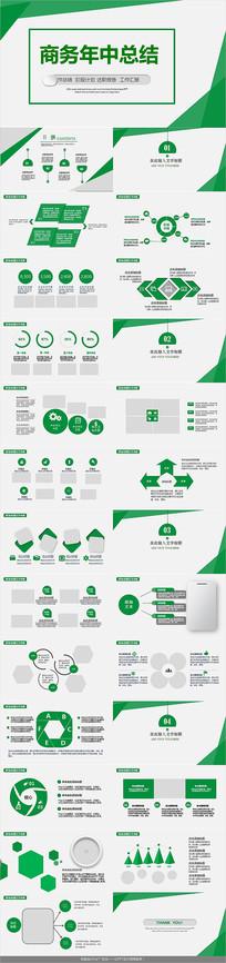 绿色商务年中总结PPT模板
