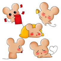 原创元素手绘小老鼠表情包