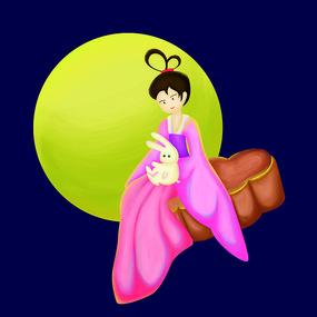 原创元素手绘中秋嫦娥月饼