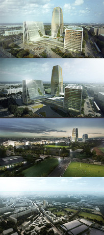 PSD分层鸟瞰效果图园林景观城市建筑 PSD