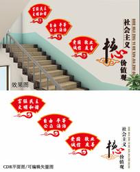 党政楼梯文化墙设计