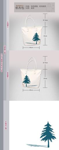 帆布包原创图案圣诞树(版面简洁干净)