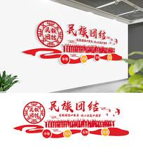红色56个民族民族团结文化墙布置