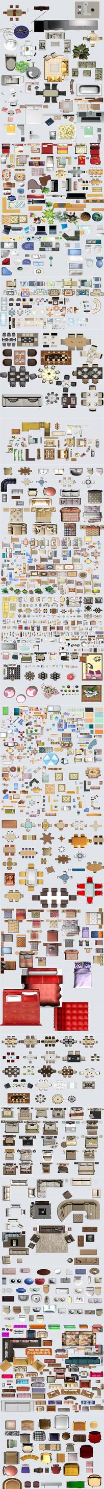 家装工装彩平图块PSD分层家具户型图素材