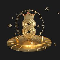 金属数字8周年庆字体元素