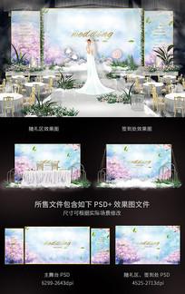蓝色系樱花婚礼舞台背景板