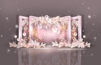 浅粉色婚礼留影区背景板