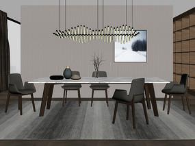 现代餐厅餐桌椅3D模型