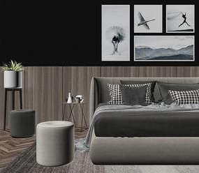 现代卧室  3D模型