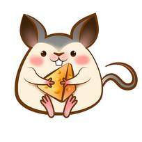 原创元素鼠年抱奶酪福鼠