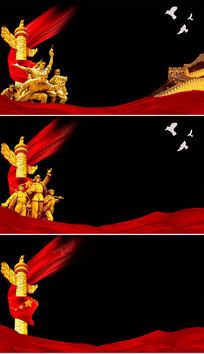 中国元素红绸透明通道视频素材