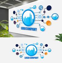 创意蓝色线路板企业集团形象墙