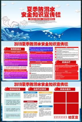 简约防溺水安全展板设计