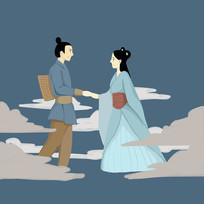 手绘古典牛郎织女传统七夕情人节元素