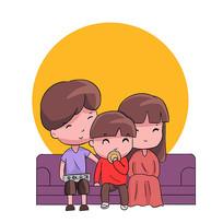 手绘一家人吃月饼中秋节赏月创意插画元素