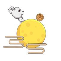 手绘月兔月亮月饼中秋节创意插画元素
