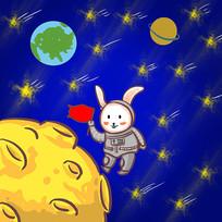 手绘玉兔登月中秋节创意插画