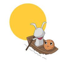 手绘玉兔月饼中秋节创意插画元素