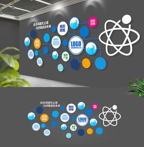 原创简约蓝色科技大型企业文化墙