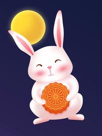 中秋节卡通兔子元素