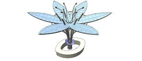 花朵造型水池SU模型 skp