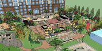 居住区景观园林模型