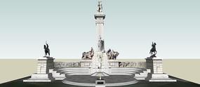 欧式雕塑露台景观SU模型