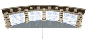 欧式弧形喷泉景墙SU模型 skp