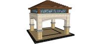 欧式四柱方形廊亭SU模型