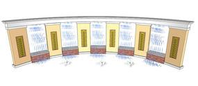 喷泉弧形景墙SU模型 skp